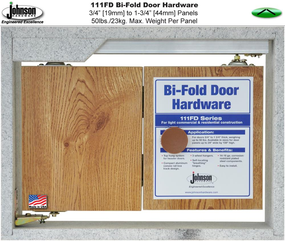 Spring assisted panel hinges  pop  panels into the closed position and keep them there no more unsightly half closed bifold doors.  sc 1 st  Johnson Hardware & Johnson Hardware 111FD Bi-Fold Door Hardware Sets | Johnsonhardware ...