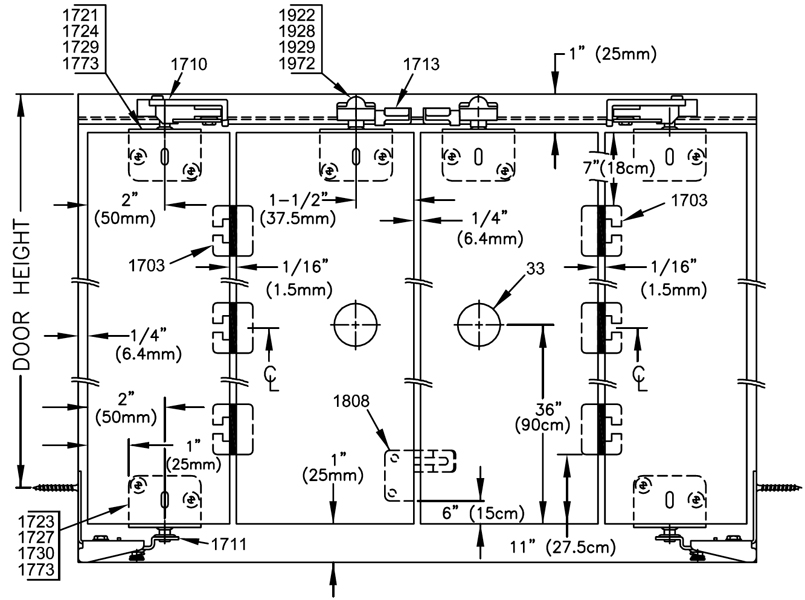 Johnson hardware 1700fs side mounted bi fold door hardware for 1700 series folding door instructions