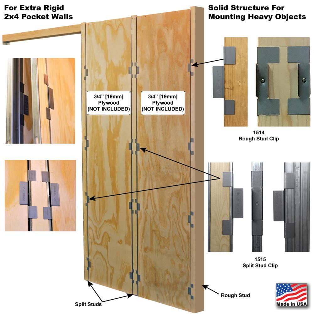 Plywood panels not included. Plywood panels sized and cut on-site to approperiate dimensions. Plywood panels installed flush with split studs.  sc 1 st  Johnson Hardware & Pocket Door Frame Plywood Clip Set | Johnsonhardware.com | Sliding ...