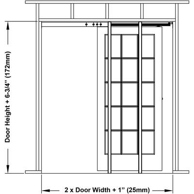 2000 series pocket door frame for Door dimensions