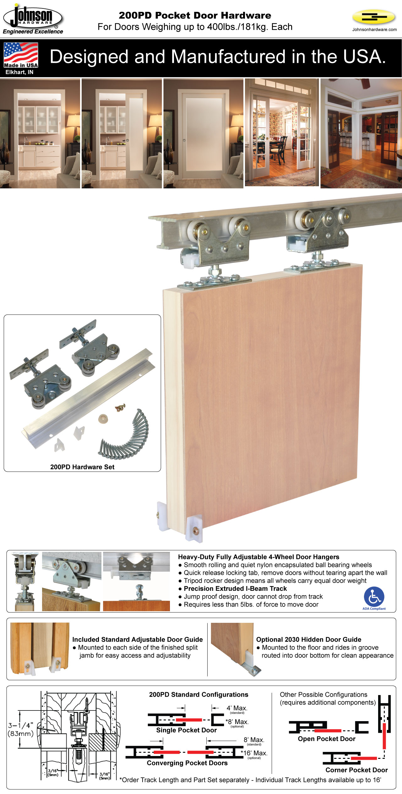 Pocket door hardware sets johnson hardware autos post for Sliding door hardware