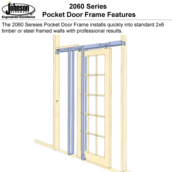Johnson hardware 2060 pocket door frame johnsonhardware for Door jamb size for 2x6 walls