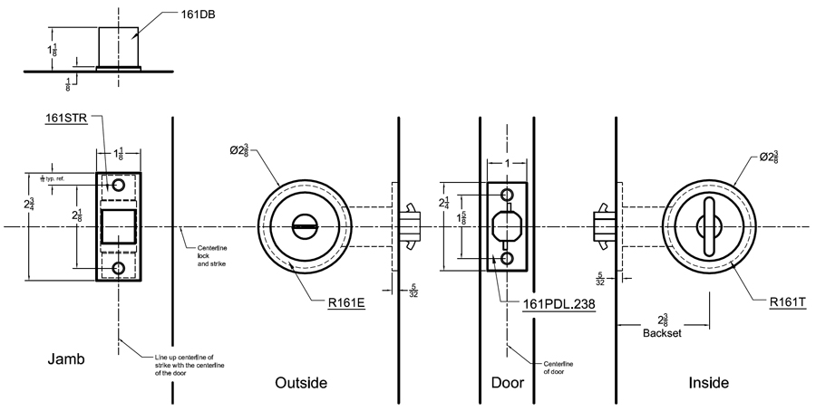 240s03cd Converging Pocket Door Lock Set Johnsonhardware