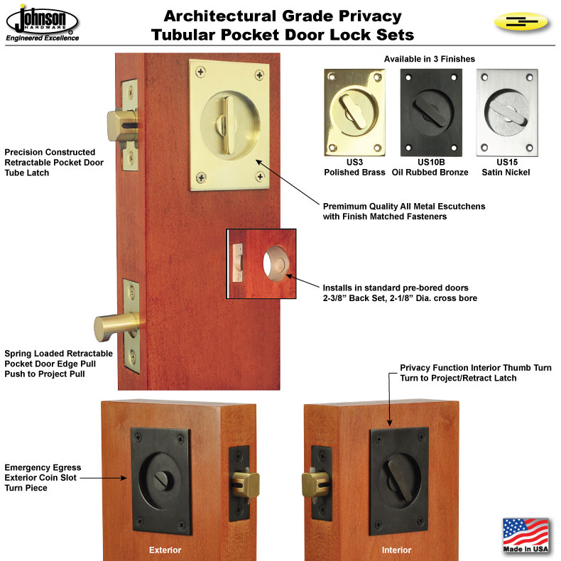 Hardware For Double Converging Pocket Doors : S cd converging pocket door lock set johnsonhardware