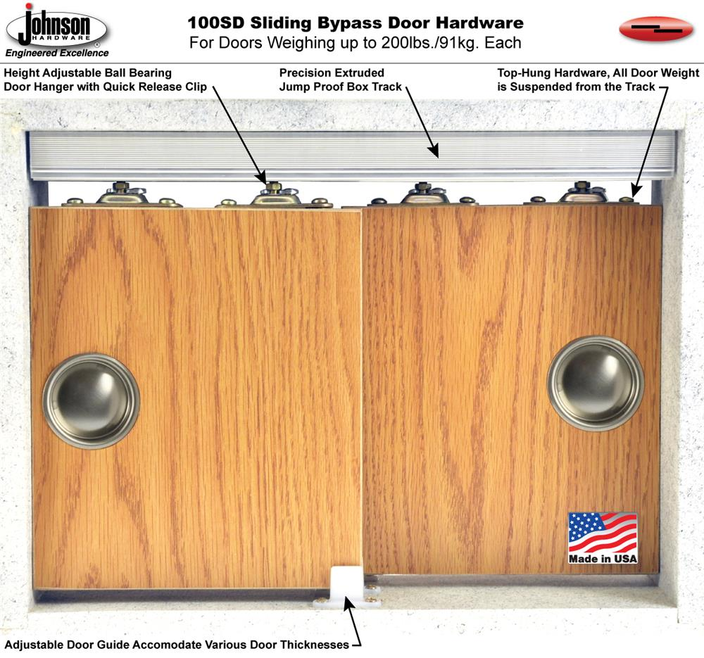 100SD separate and independent track extrusion accommodate various door thicknesses allowing maximum installation flexibility. The 100SD can be purchased in ...  sc 1 st  Johnson Hardware & Johnson Hardware 100SD Sliding Bypass Door Hardware ... pezcame.com