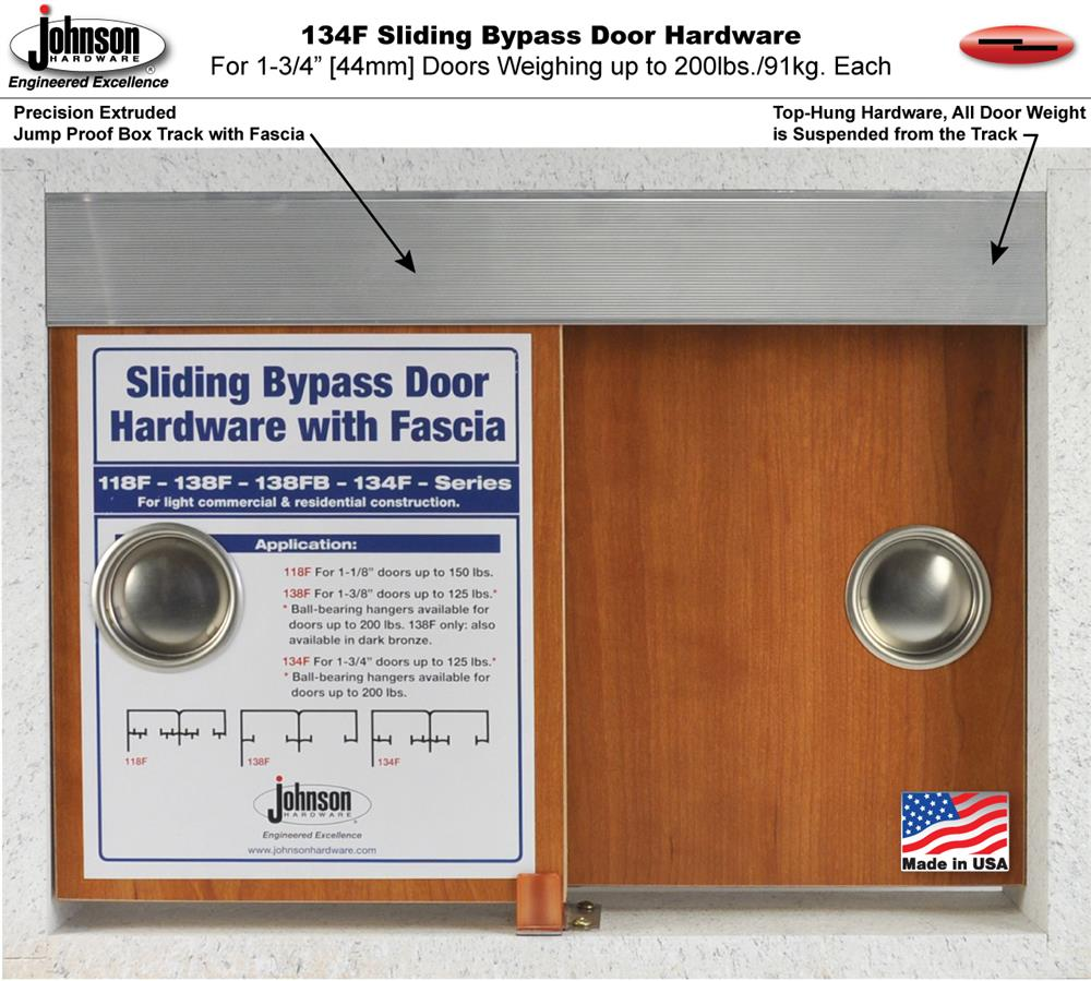 Hangers feature a quick disconnect clip system facilitating easy mounting or dismounting of door panels.  sc 1 st  Johnson Hardware & Johnson Hardware 134F Sliding Bypass Door Hardware | Johnsonhardware ...