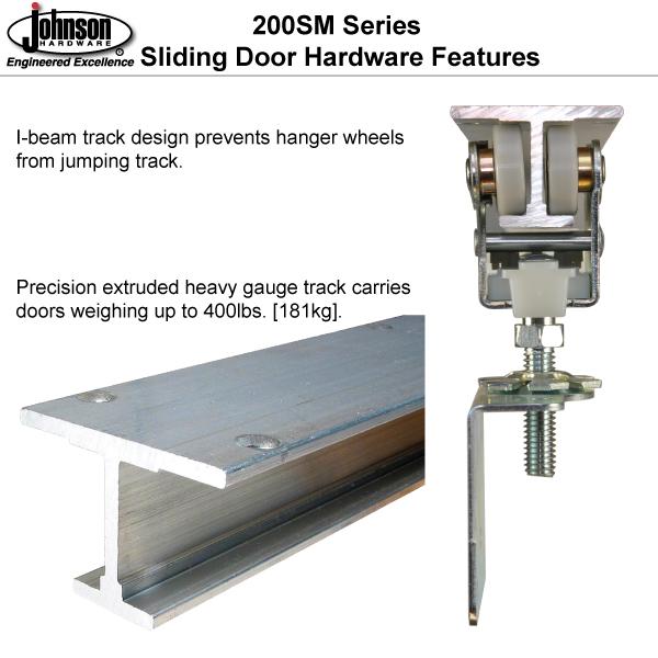 Johnson Hardware 200sm Side Mount Sliding Bypass Door Hardware Sliding