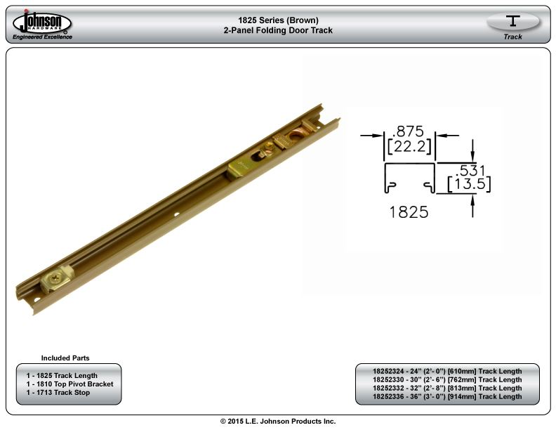 1825 2 panel track 32 813mm length brown for 1825 2