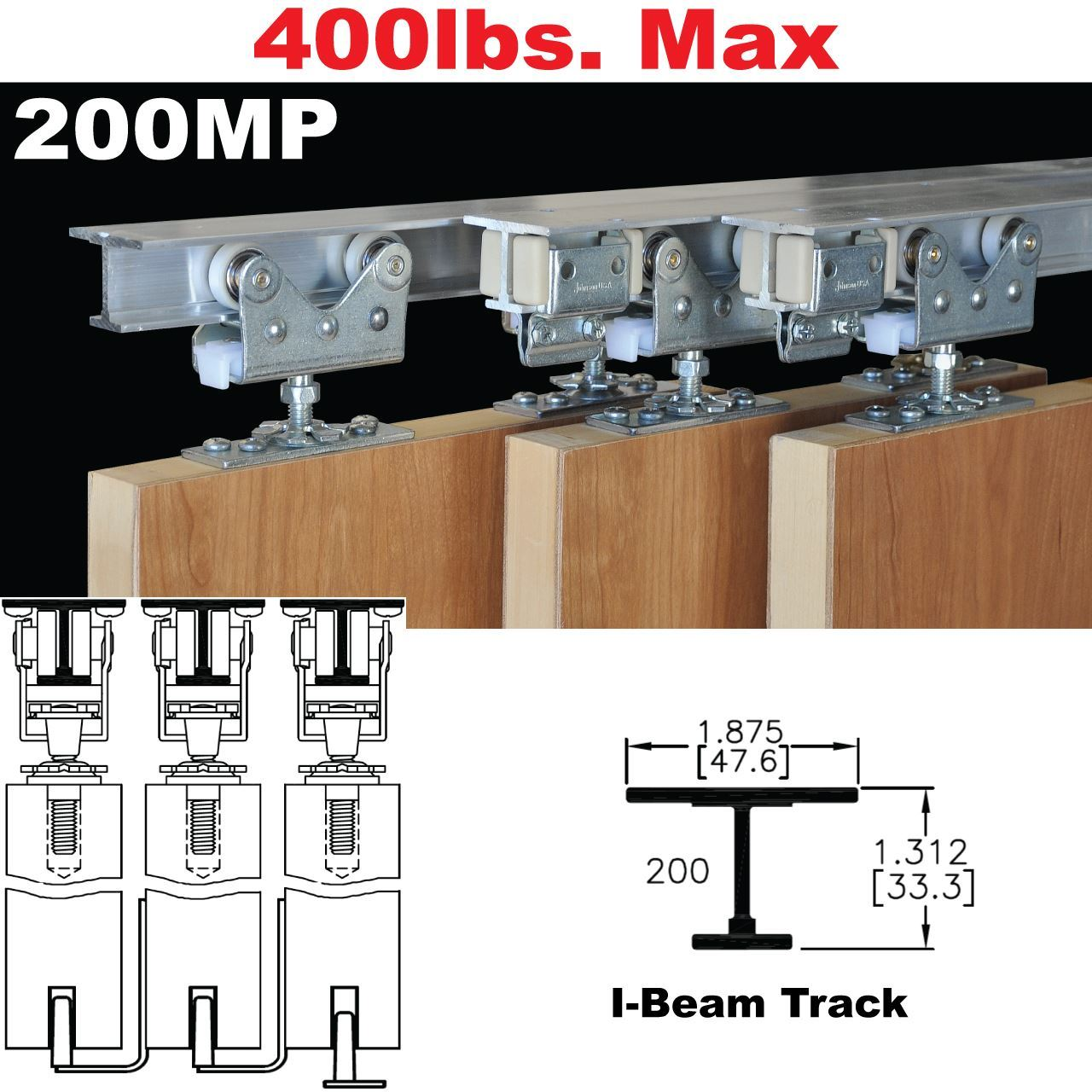 Picture Of 200MP Tri Pass Pocket Door Hardware