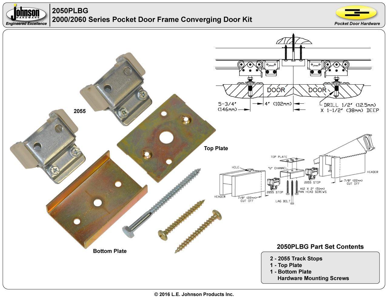 Hardware For Double Converging Pocket Doors : Plbg converging door kit johnsonhardware