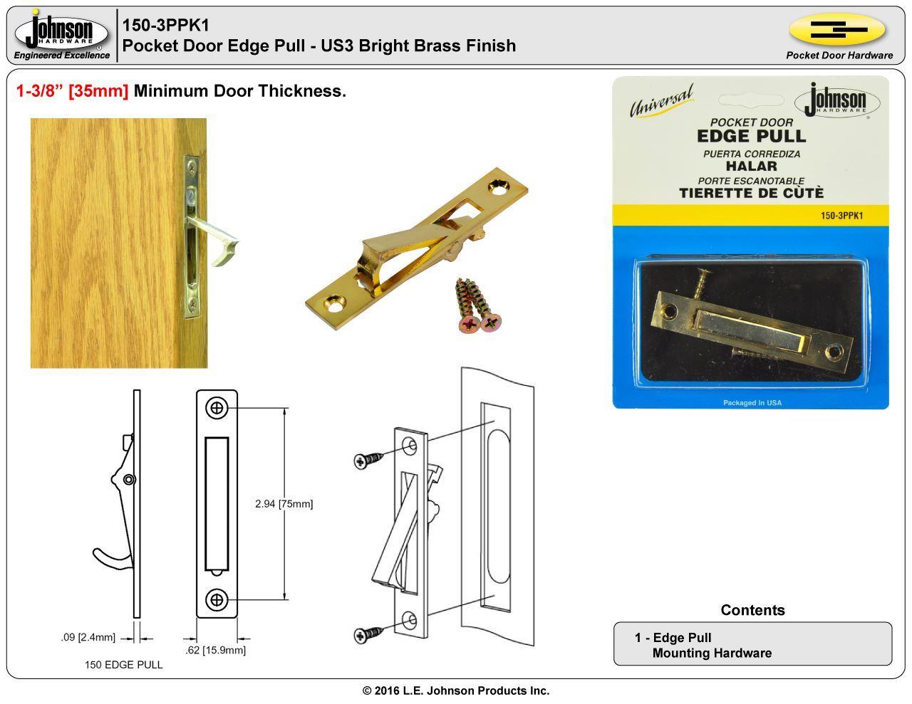 150 3pk1 Us3 Bright Brass Edge Pull Johnsonhardware Com