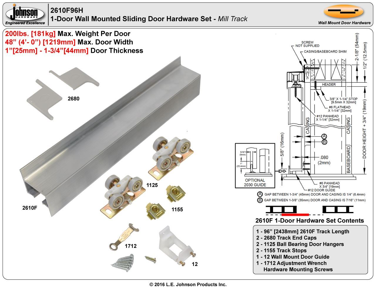 Johnson Hardware 2610f Wall Mount Sliding Door Hardware