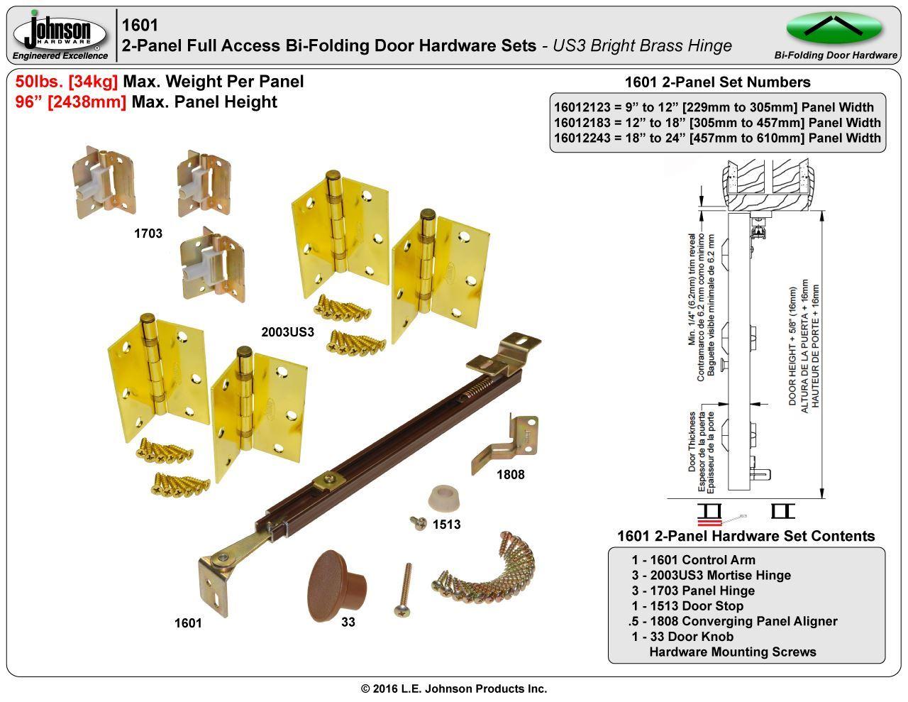 Johnson Hardware 1601 Full Access Bi-Fold Door Hardware ...