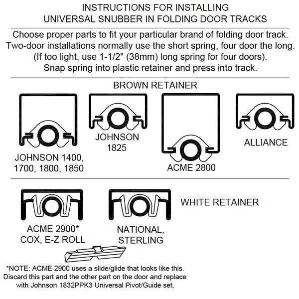 1833ppk3 Universal Bi Fold Door Snubber Kit