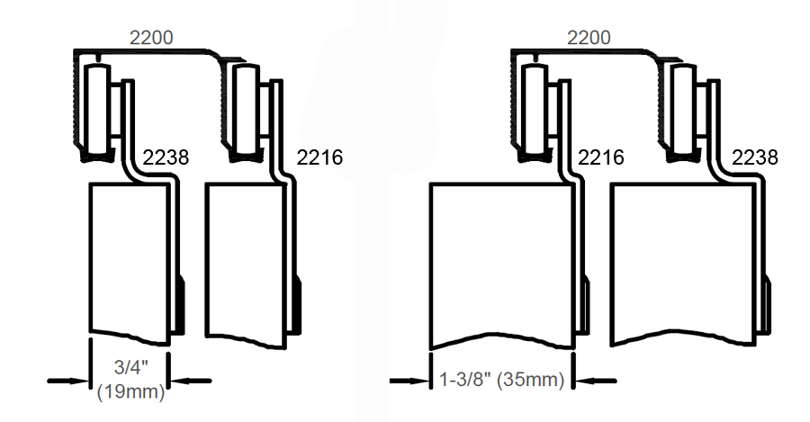 Johnson Hardware 2200 Sliding Bypass Door Hardware